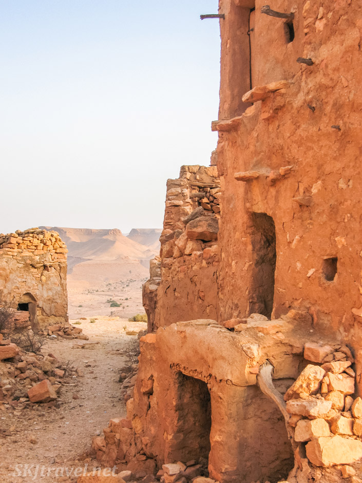 Lanes lined with homes through the abandoned ksar of Guermessa, Tunisia.