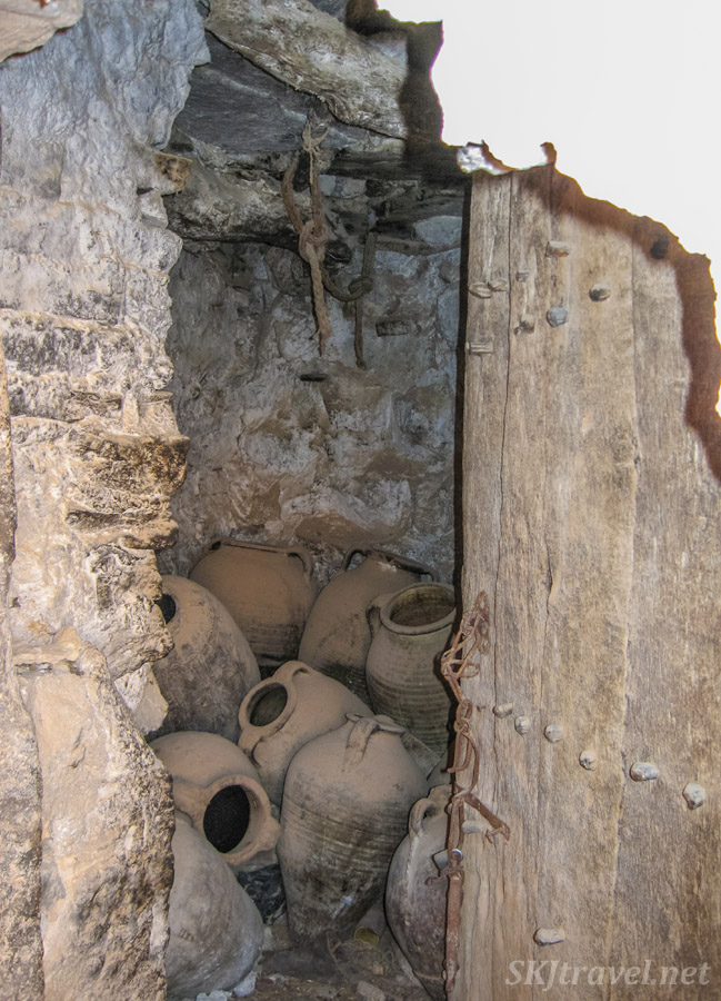 Amphorae to hold olive oil inside abandoned hilltop Berber ksar village of Douiret, Tunisia.