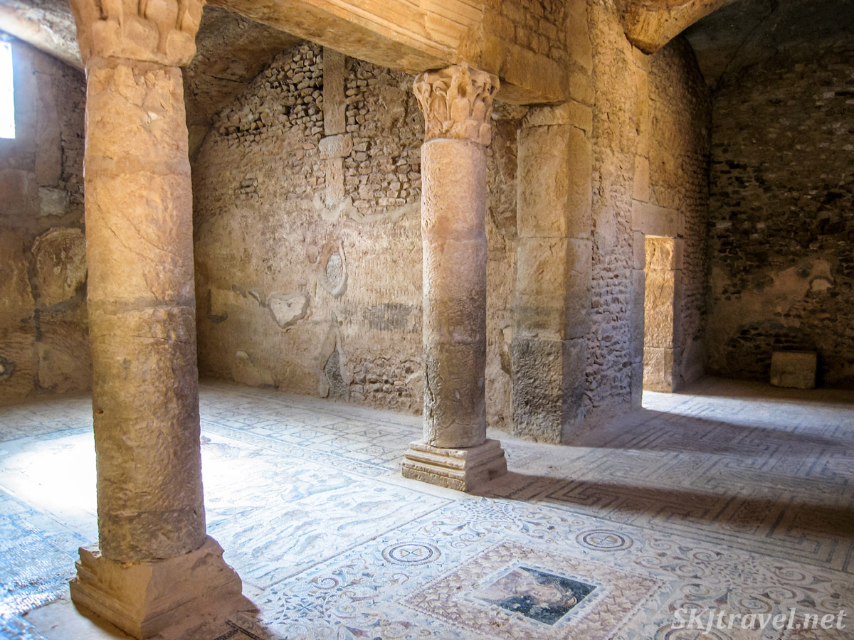 Underground villa, tile mosaics on the floor, at the ancient Roman city of Bulla Regia, Tunisia.