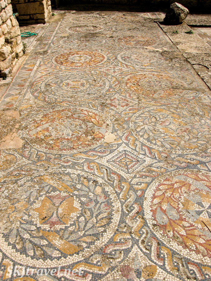 Tile mosaics in situ on the floor at UNESCO World Heritage site, Dougga, Tunisia.