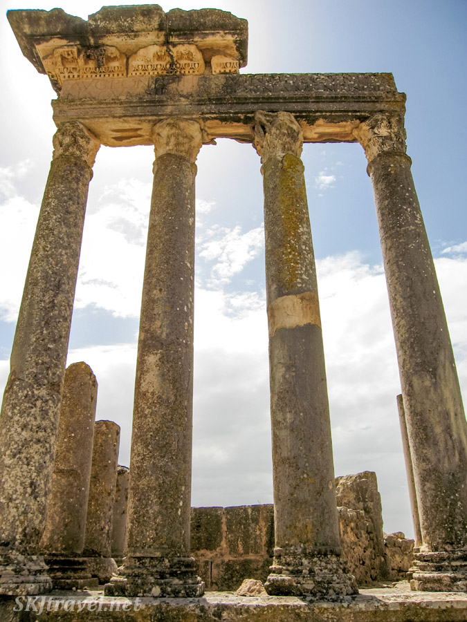 Ancient Roman ruins at UNESCO World Heritage site, Dougga, Tunisia.