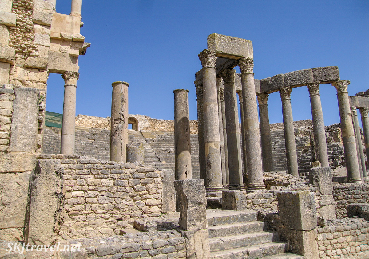 Pillars around the amphitheater at UNESCO World Heritage site, Dougga, Tunisia.