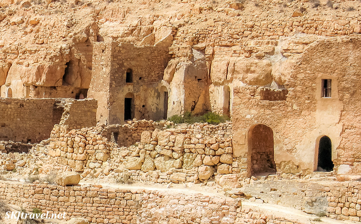 Abandoned ksar village, Douiret, Tunisia, near Tataouine, crumbling to ruins.