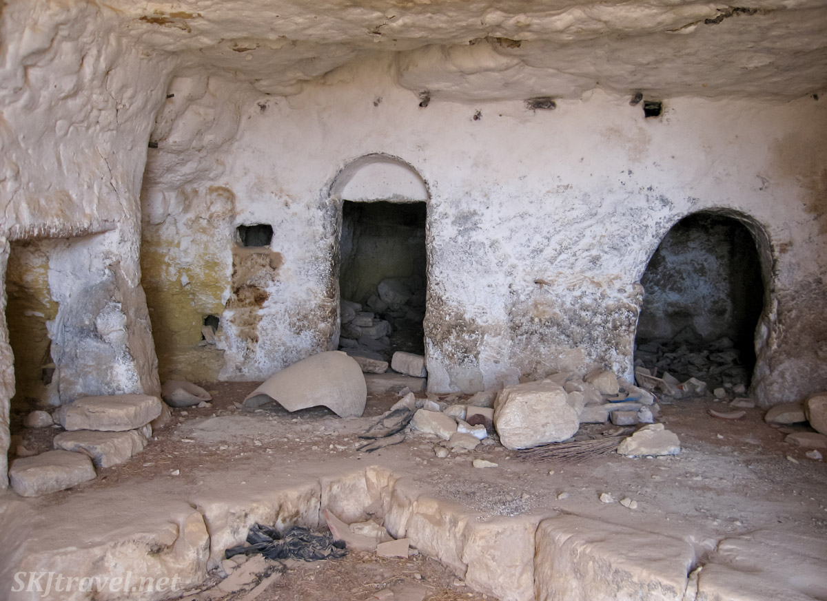 Inside a cave home in the abandoned ksar or Douiret, Tunisia, near Tataouine.