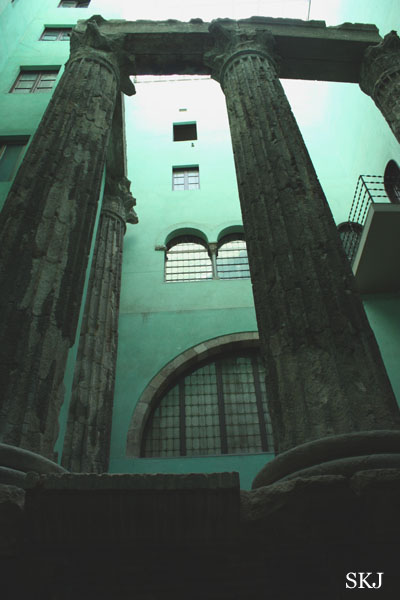 Tall stone pillars of ancient Roman structure in Barcelona. photo by Shara Johnson