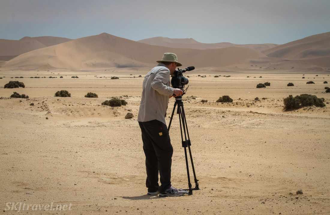 Filming in the Namib Desert for The African Witchfinder.