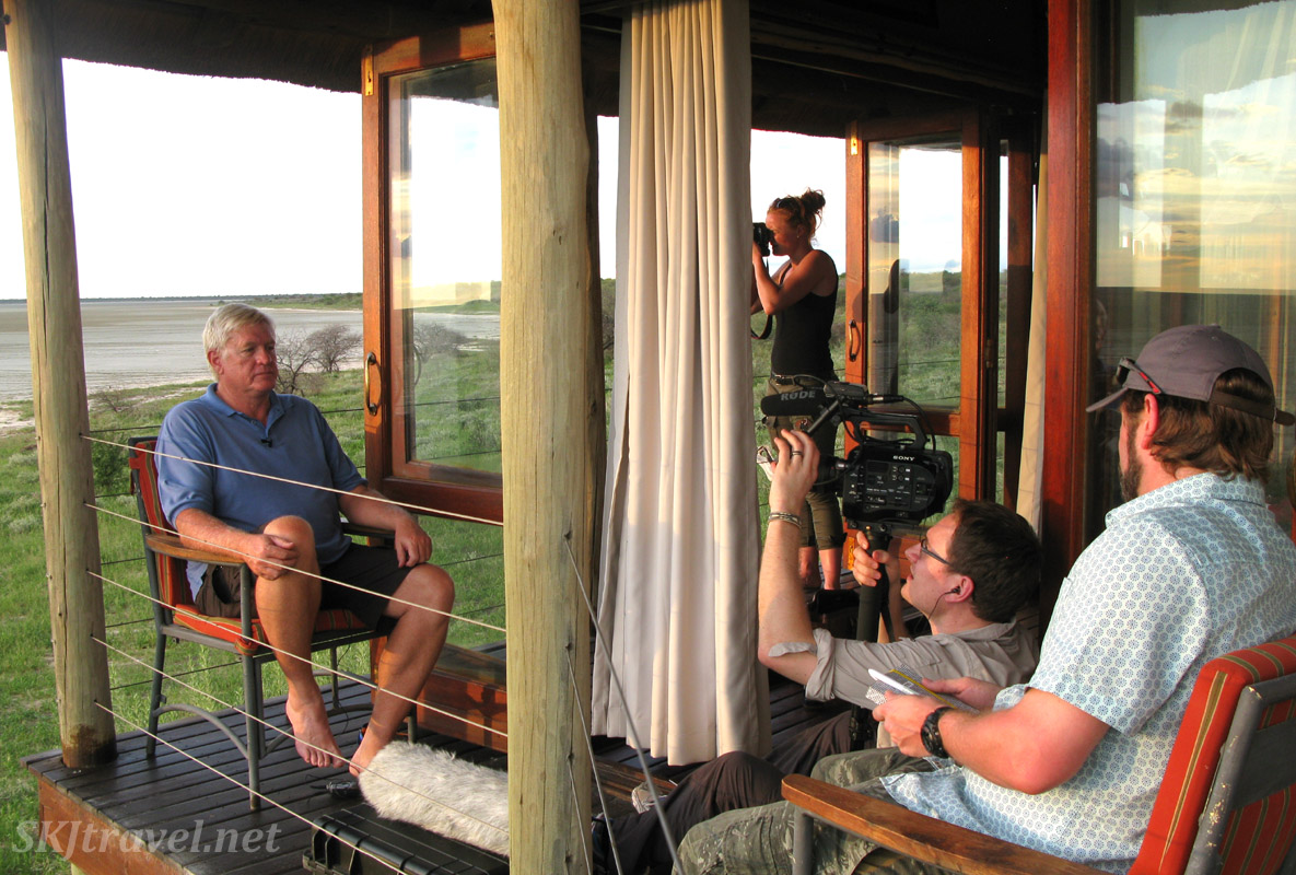 Filming for The African Witchfinder at Onkoshi camp in Etosha National Park, Namibia.