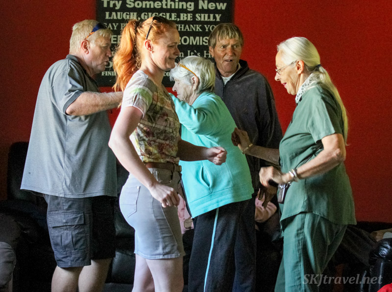 Berrie and Susanne dancing with Alzheimer's patients at the ADN care farm near Swapkopmund, Namibia.