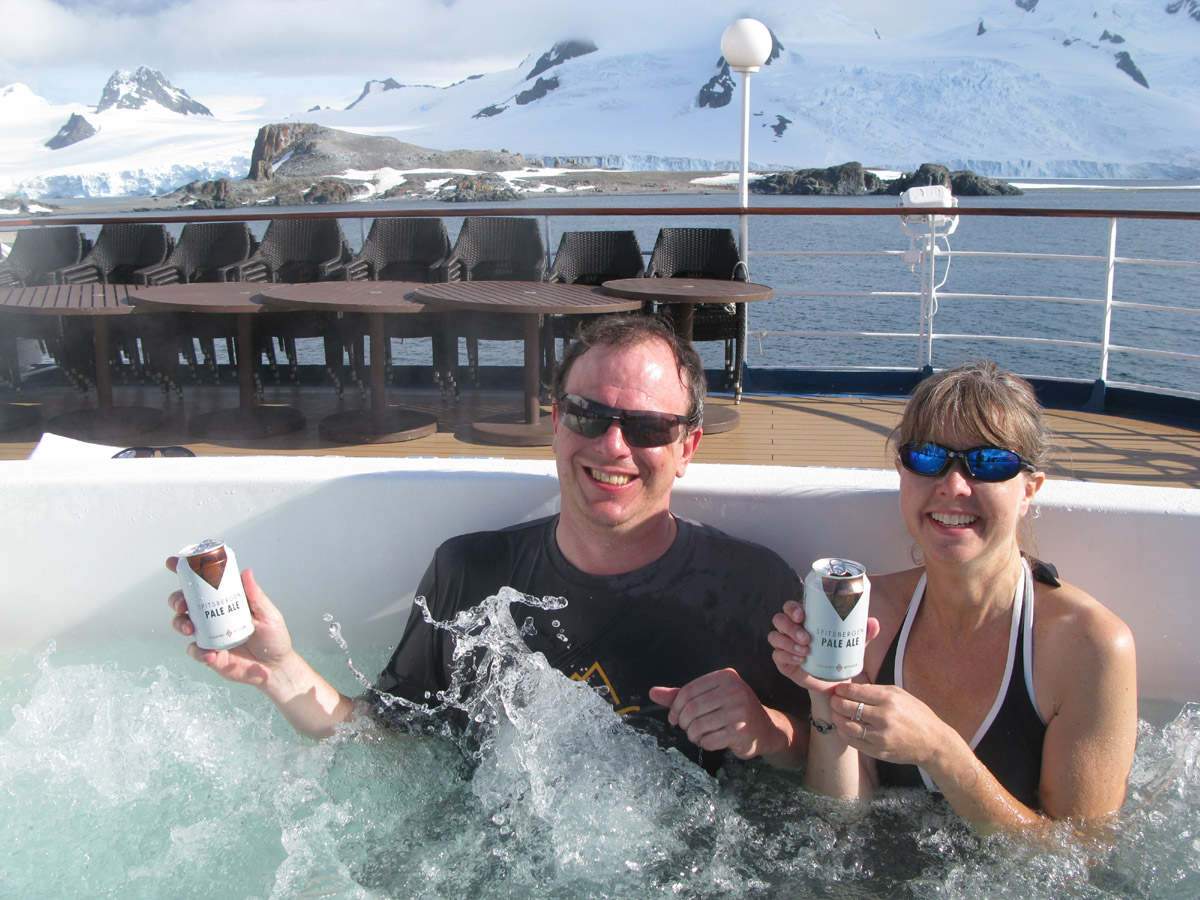 In the hot tub outside on the M/V Sea Spirit.
