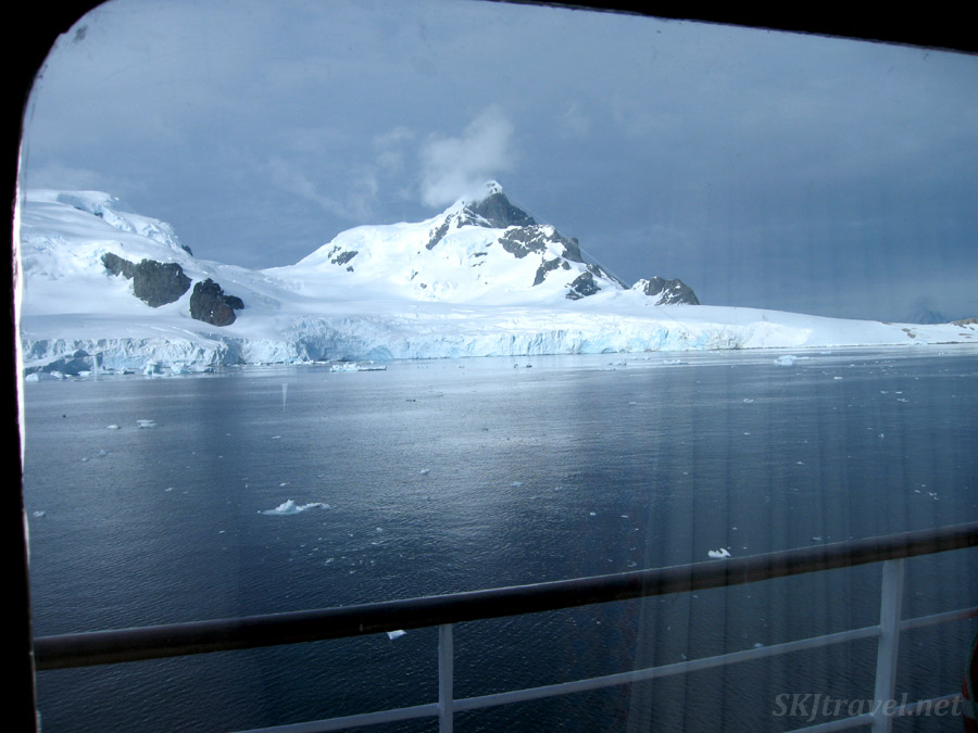 View of mountains in the Antarctic Peninsula from our cabin about the m/v Sea Spirit.