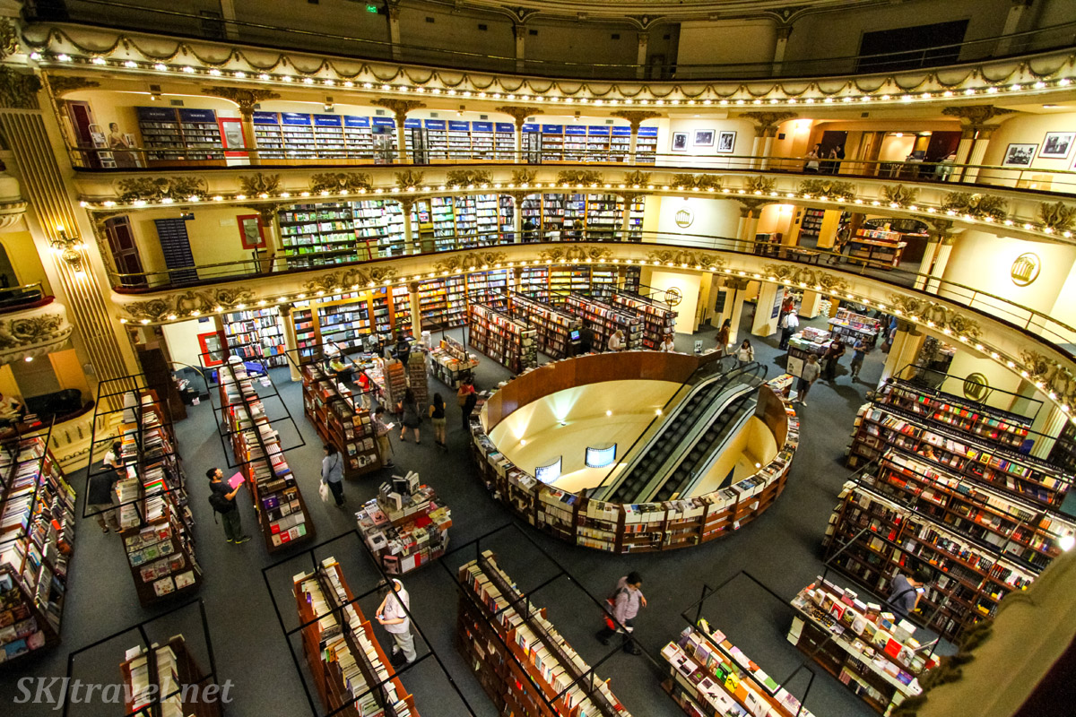 El Ateneo bookstore, Barrio Norte in Buenos Aires, Argentina. Escalator goes down into the orchestra pit.