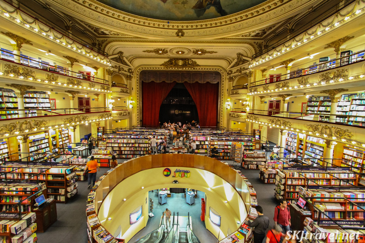 El Ateneo bookstore, wide angle view, Buenos Aires, Argentina.