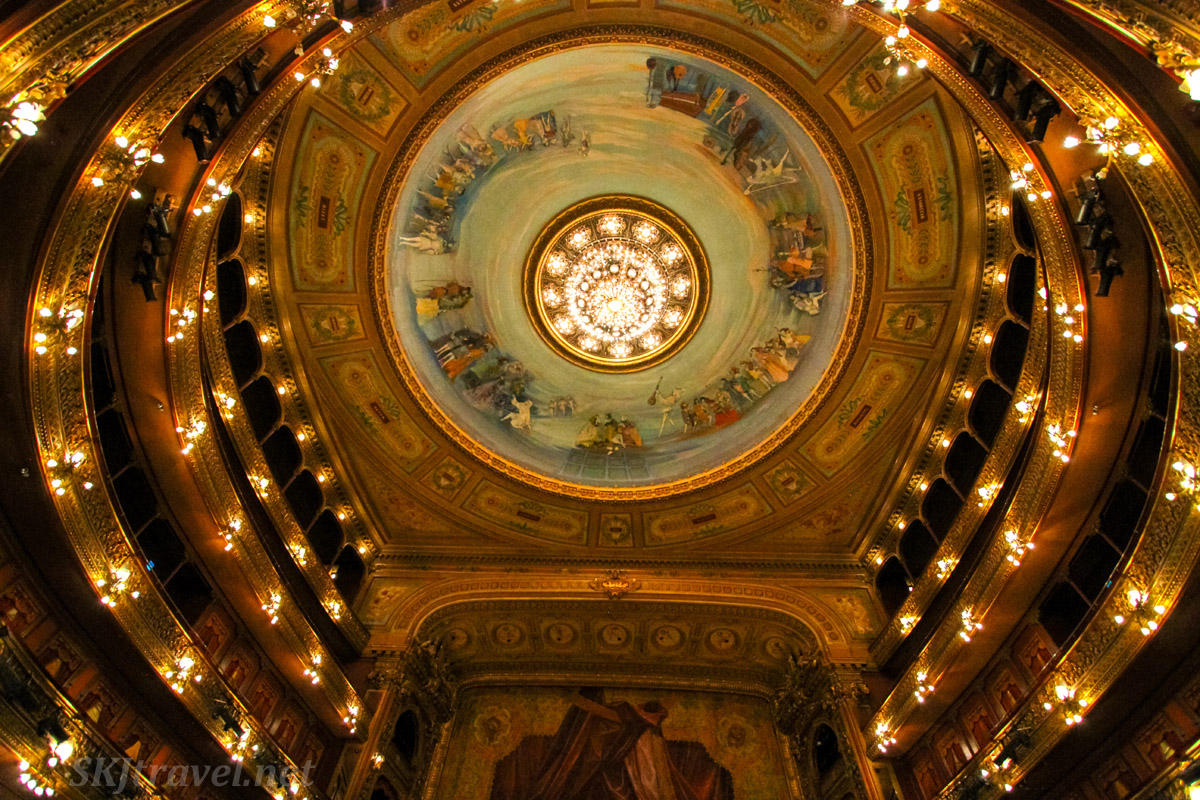Ceiling in stage area of Teatro Colón, Buenos Aires, Argentina.