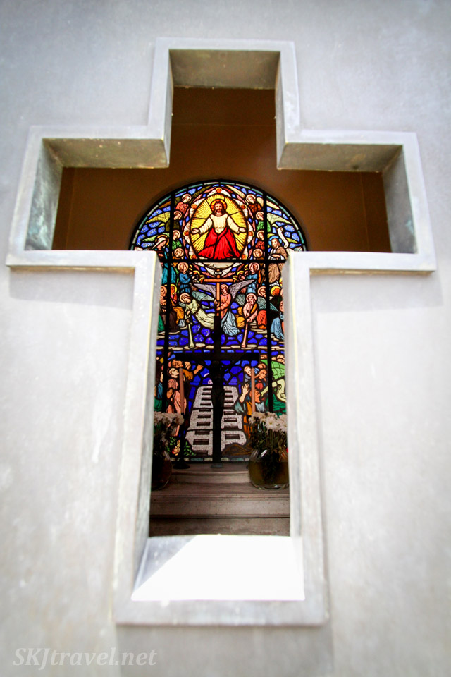 Stained glass window, interior of mausoleum at Recoleta Cemetery, Buenos Aires, Argentina.