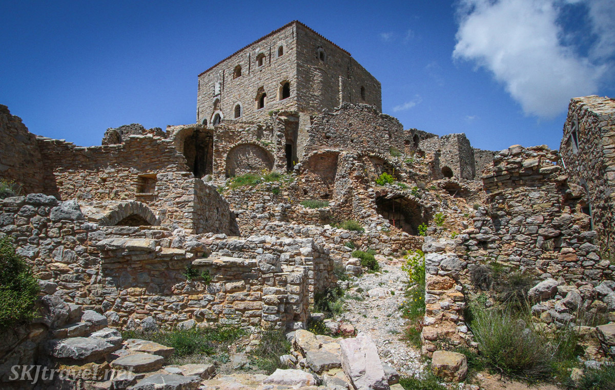 Hilltop fortified village of Anavatos, abandoned ruins, Chios Island, Greece.