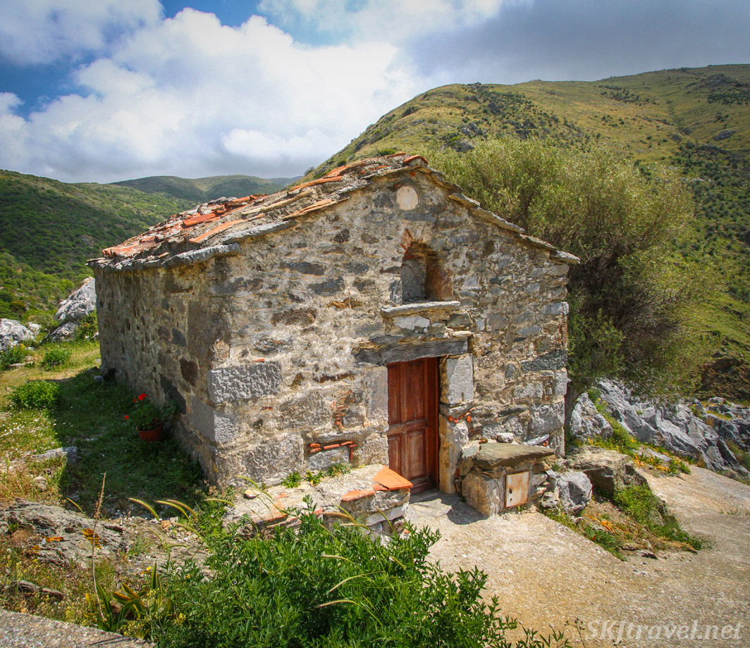 Stone hut on a hill in a small village on Chios Island, Greece.