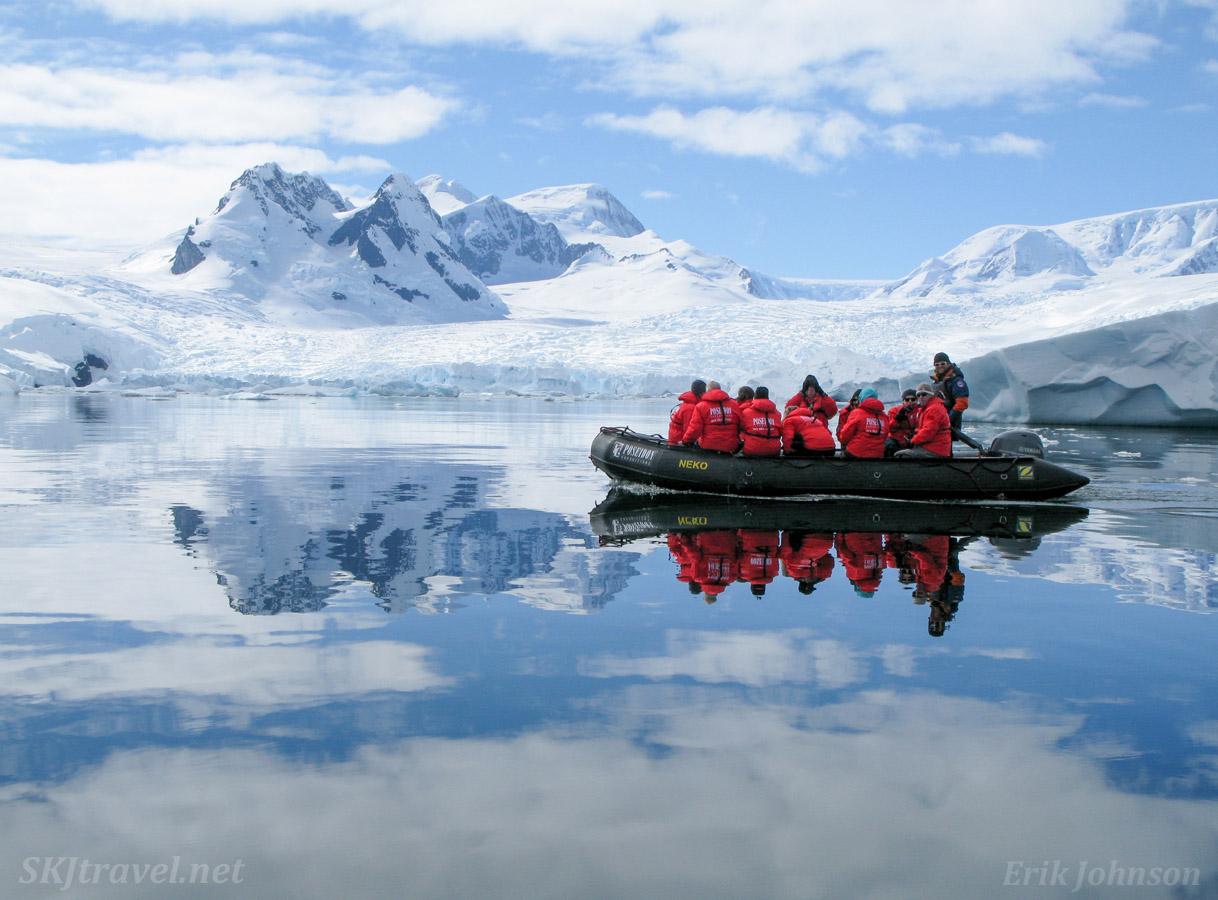 Zodiac cruise in Cierva Cove, Antarctic Peninsula, with Poseidon Expeditions.