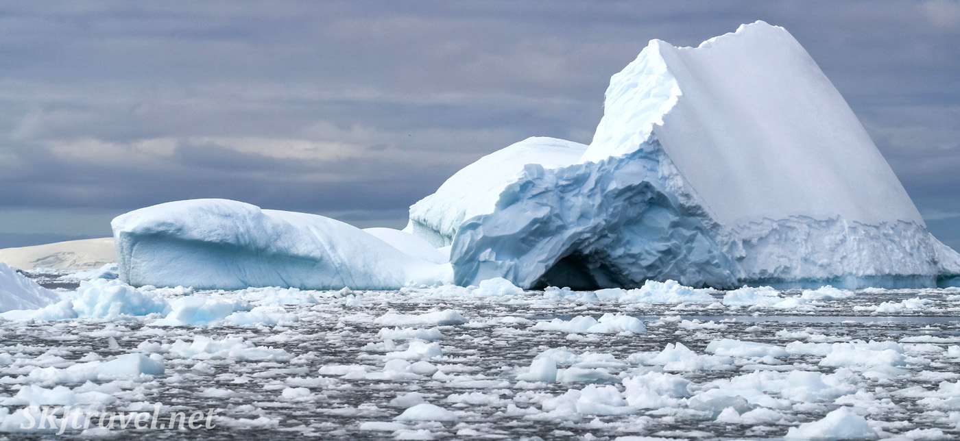 Icebergs and ice debris, Southern Ocean, Antarctica.