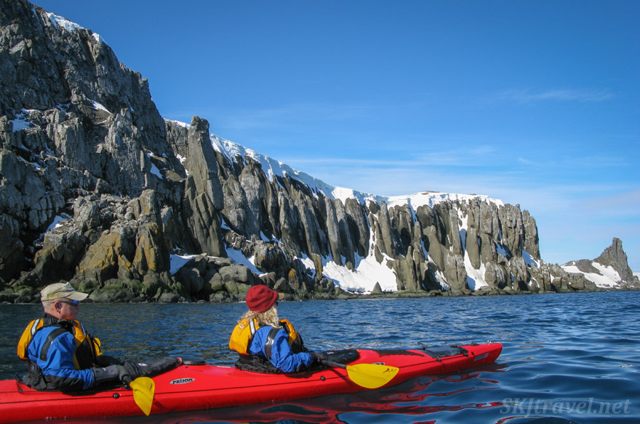 Kayaking around Barrientos Island in the South Shetland Islands.