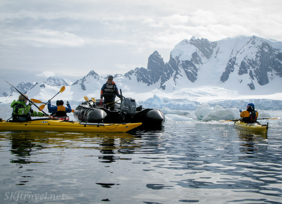 Launching kayaks at Cuverville Island, Antarctica.