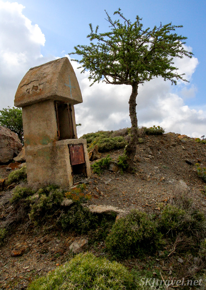 Roadside stone shrine, Chios Island, Greece.