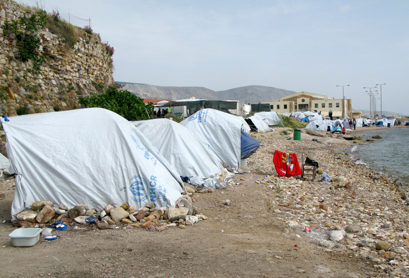 United Nations issued tents along the shore of Chios Island at the Souda refugee camp. April 2017.