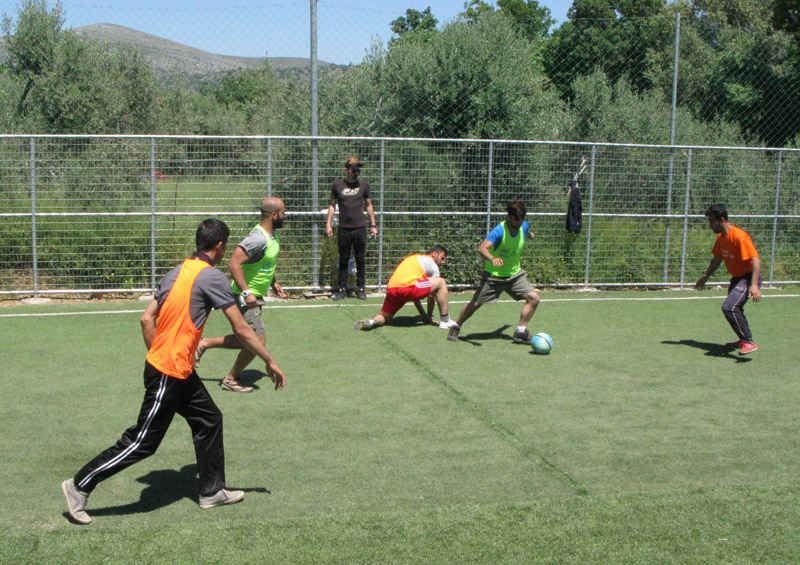 Soccer tournament among refugees at Vial camp, Chios Island, Greece.
