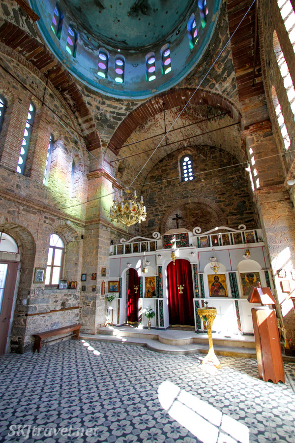 Interior of the small Greek orthodox church in the village of Volissos, Chios Island, Greece.