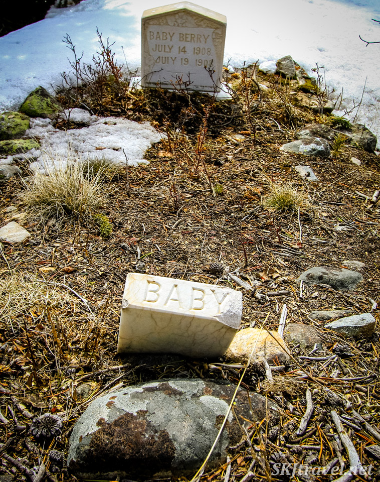 Buckskin Joe cemetery near Alma, Colorado, in South Park. Two infants buried in the early 20th century.