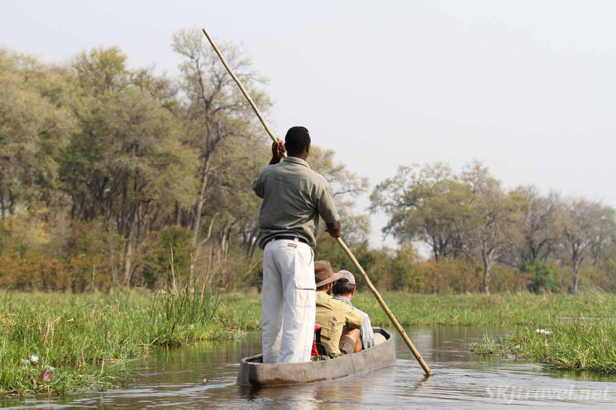Traveling through a water channel in the Okavango Delta in a traditional mokoro, or makoro, dugout canoe.Botswana