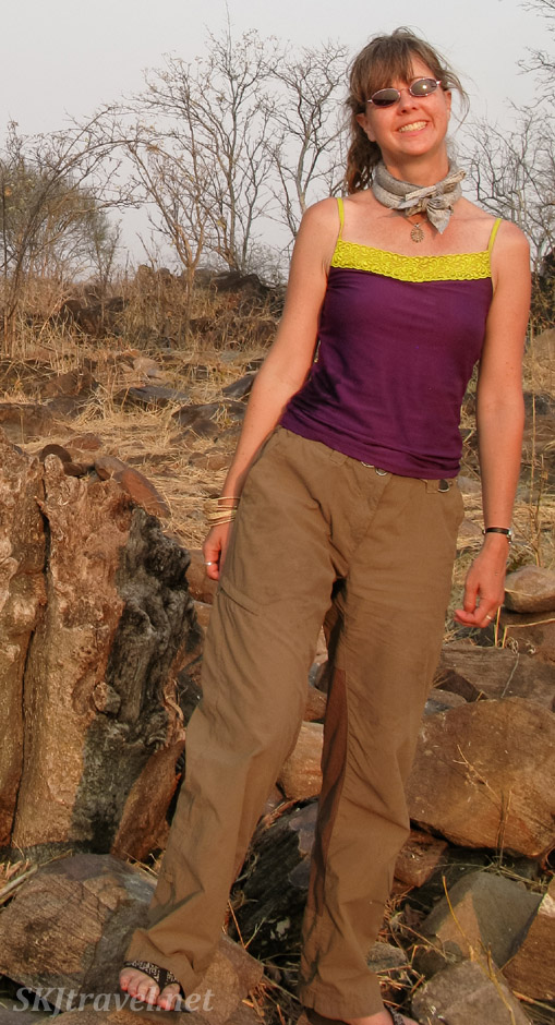 Shara modeling neck coolers in the hot weather of the Okavango Delta (Savuti), Botswana.