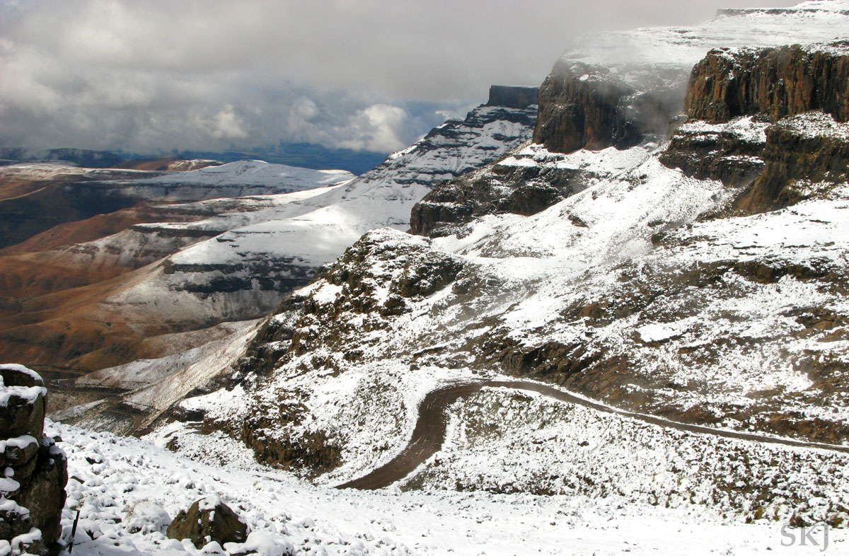 Top of Sani Pass after a snowstorm, Lesotho.
