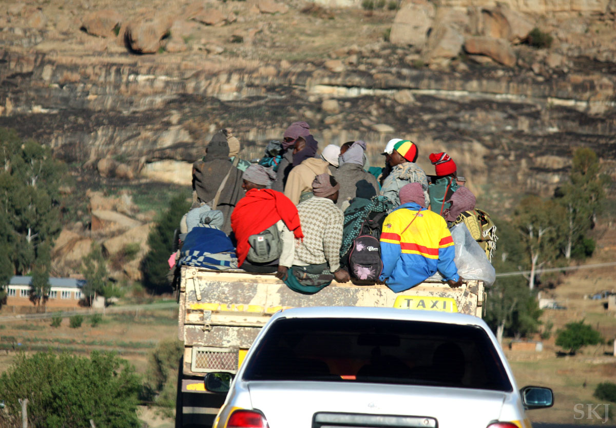 Following a truck full of passengers on top, Lesotho.