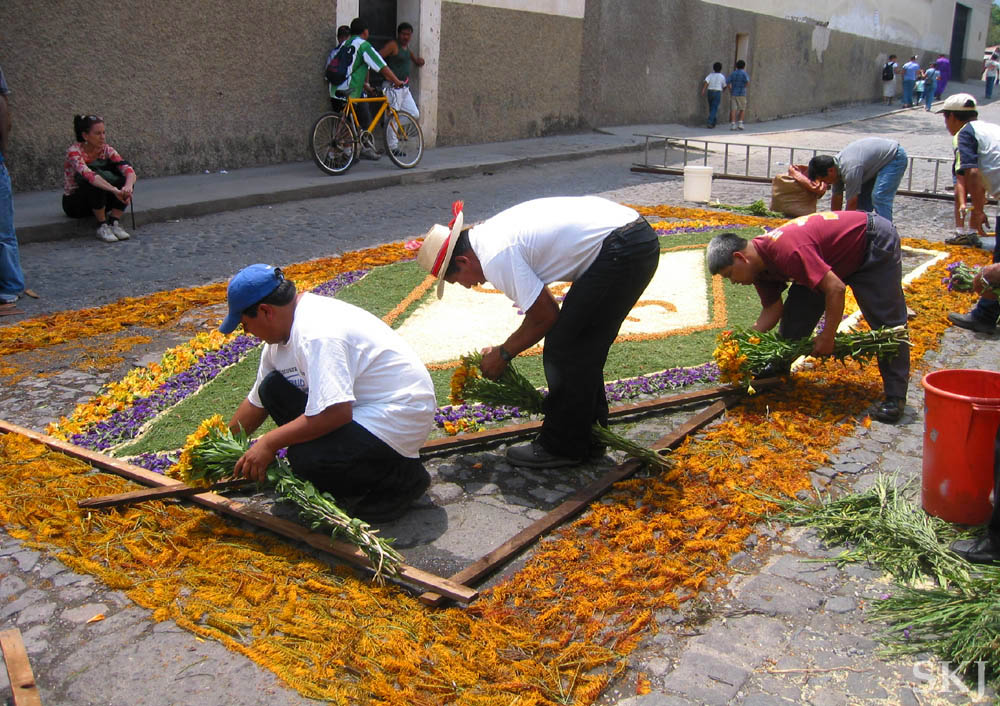 Making a flower carpet on the cobblestone streets of Antigua, Guatemala, Thursday night before Good Friday. Semana Santa celebration.