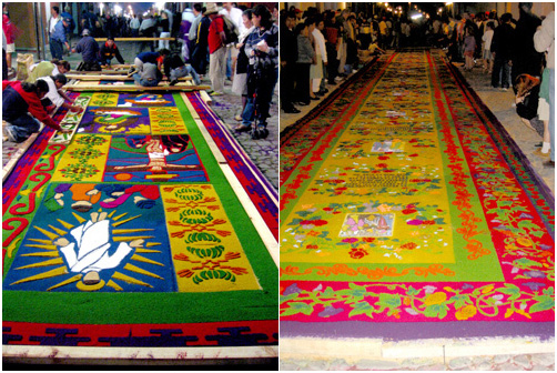 Sand carpets of the La Merced Good Friday Procession, Antigua, Guatemala.