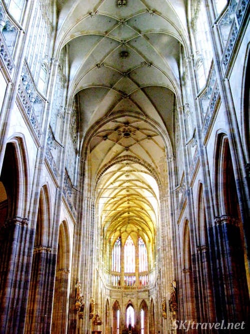 Central corridor in the St. Vitus cathedral. Prague.