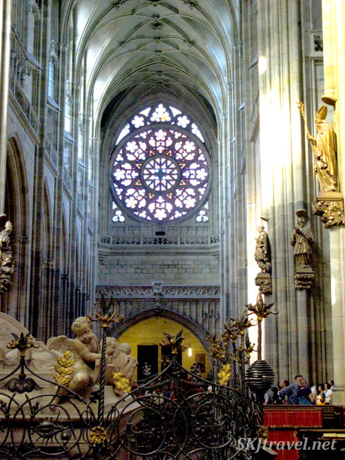 Rose window in St. Vitus Cathedral. Prague.