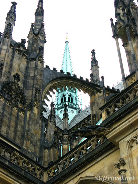 Detail of St. Vitus cathedral rooftop, some of the many, many spires. Prague.