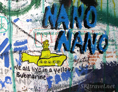 Graffiti of yellow submarine on John Lennon wall in Prague.