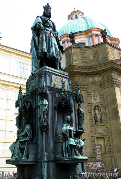Bronze statue of King Charles near the Charles Bridge, Prague.