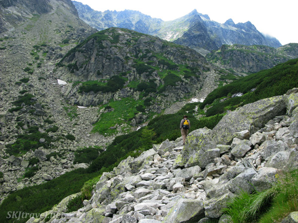 The trail is sometimes just a jumble of rocks in the High Tatras mountain range, Slovakia.