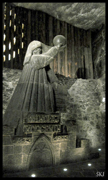 Statues carved from salt in the Wieliczka salt mine. Poland.