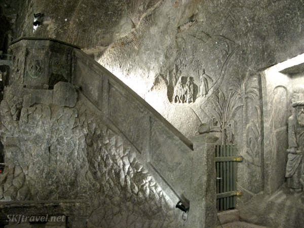 Inside the large cathedral carved into the interior of the Wieliczka salt mine, Poland.