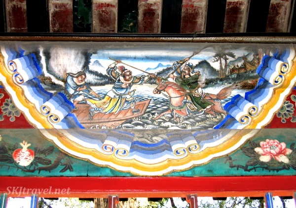 Looks like a Mongol raider attacking a boat ... a scene from the Long Corridor, Summer Palace, China.