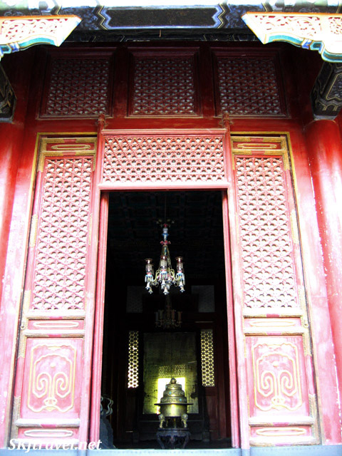Looking into one of the buildings at the entrance to the Summer Palace. China.