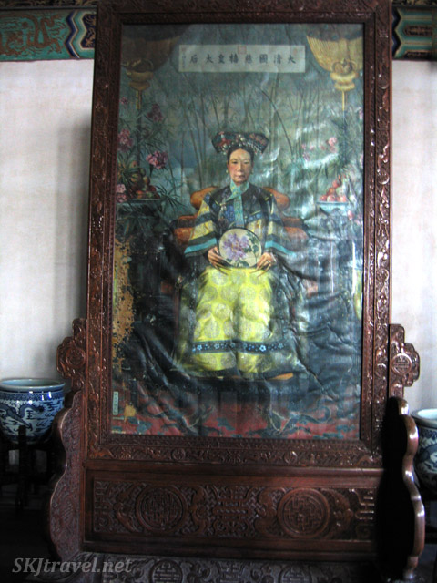 Empress Dowager CiXi ... often depicted with her freaky long fingernail caps. Summer Palace, China.