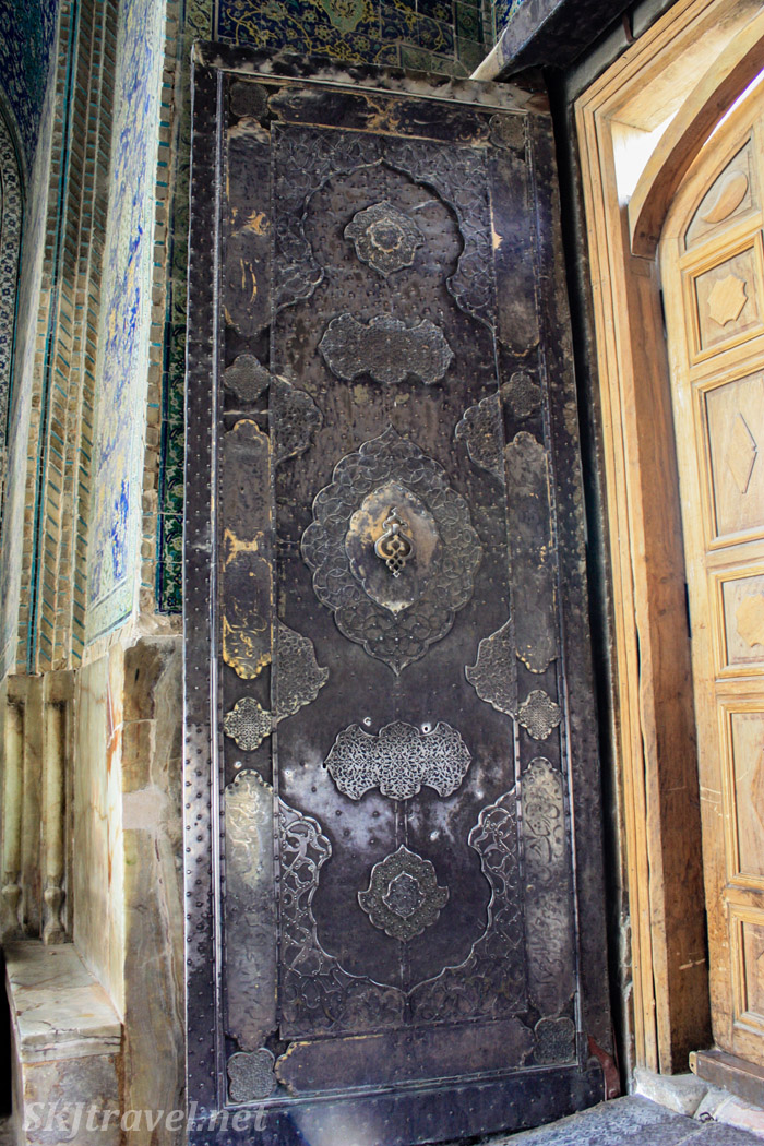 Giant metal door to the Imam Mosque, Isfahan, Iran.