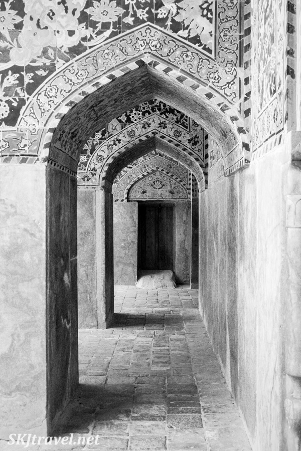 Archways along a small corridor in the Imam Mosque, Isfahan, Iran.