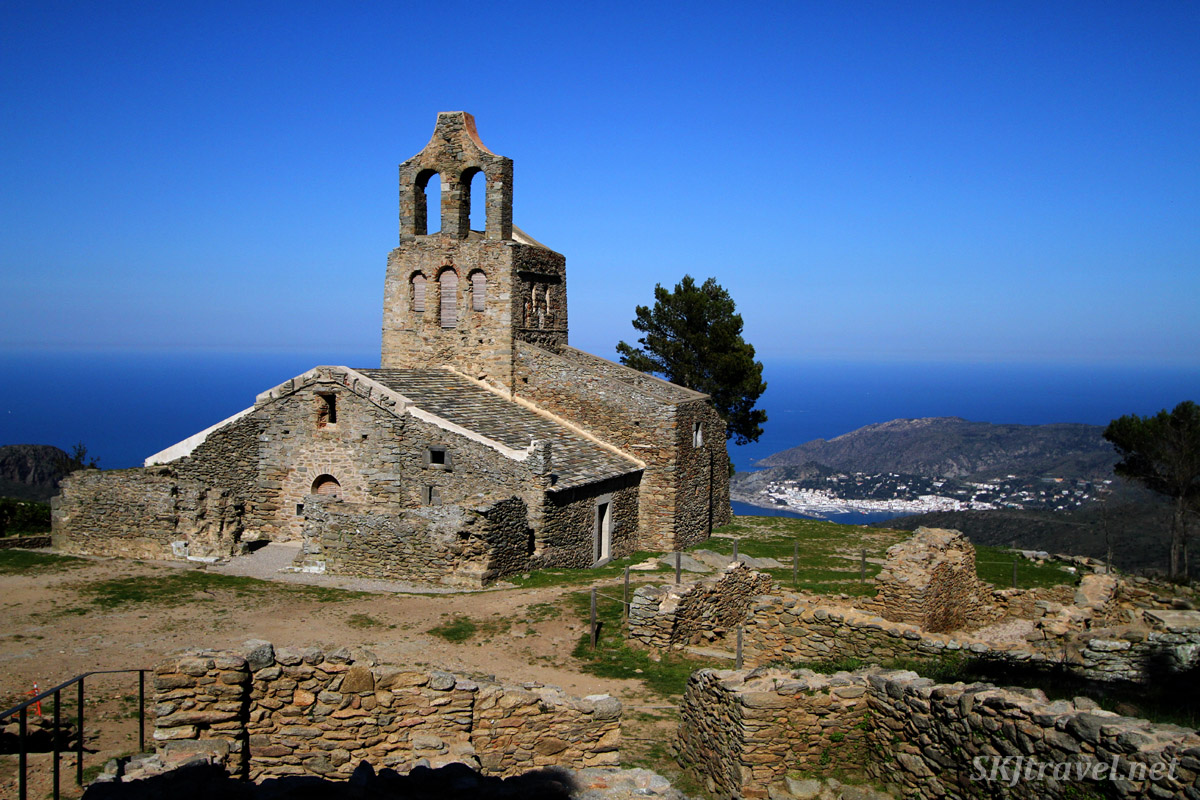 Overlooking the village of Port de la Selva, Spain, from the ruins of an old abbey.