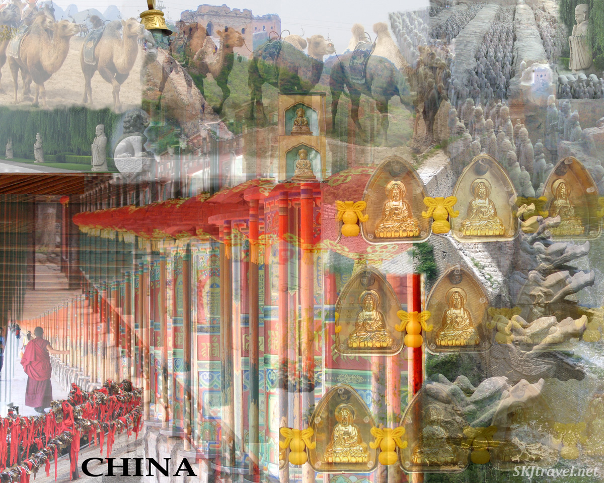 Digital photo collage of sights in China.
